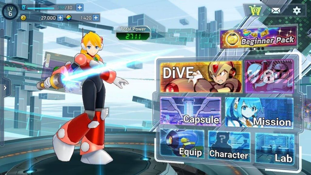Mega Man X Dive Alia Menu